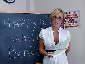 Lovely Buxomy Blonde Massive Manstick Classroom With With Jizz Drink