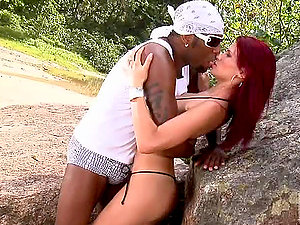 Nasty Dany Duran Ginger-haired Interracial Outdoor Hook-up