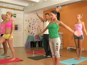 Sexy dolls get fucked hard after yoga session