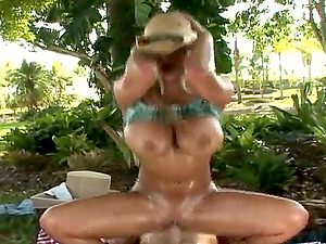 Blonde Cowgirl Shyla Stylez Getting Banged Outdoors