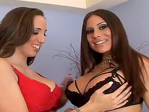 Two Big-titted Stunners with Monster Kinks and Sexy Undergarments Fuck in Threeway
