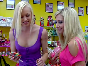 Three honies with nice booties and tits plaything twats with a strapon