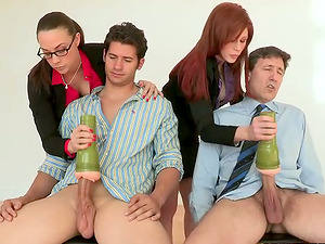 Ginger-haired and Black-haired Love Steamy CFNM Four-way Fucky-fucky