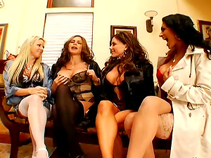A lucky dude gets sated by four gorgeous chicks in CFNM clip