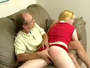 Blonde lady gets spanked and then fucked by older man