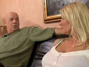 Buxomy Cougar Juliana Jolene Providing Head and Getting Laid on the Couch