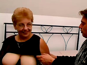 Blonde granny Kat blows and takes a excellent rail on a penis