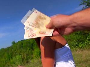 Lovely ginger-haired stunner gets fucked outdoors for cash