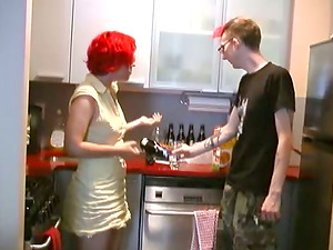 Gross bitch with dyed hair gets fucked by her tattooed BF