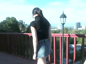 Nice dark haired honey in a miniskirt gets fucked outdoors