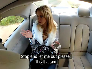 Lewd blonde gives a blow-job and gets fucked by a cab driver