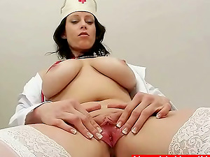 Big tittied Cougar in nurse uniform thumbs her pink vulva