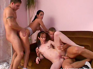 This 4 way vid involves horny tarts getting a lot of spunk in mouth and drinking it up