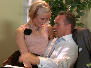 Delicious Blonde Bi-atch Takes Off Her Panty For Some Hard-core Office Romp