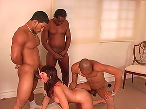 Milky Nymph Double penetration'd During a Wild Interracial Group sex