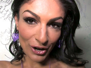 Horny Cougar Gets Her Pack of Hard-on in a Bathroom Gloryhole