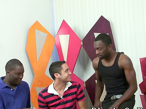 Milky Stud Deep throats and Fucks Two Black Guys in a Fag Threesome