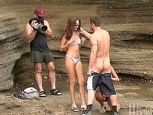 Jenna Haze and Krystal Steal Fuck this Dude! Hot Threeway FFM on the Beach!
