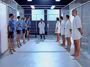 Bondage & discipline and Domina lovemaking in the jail inbetween female-guards and prisoners