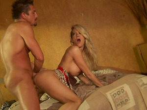 Skinny Blonde Guzzles The Massive Man sausage Then Gets Fucked