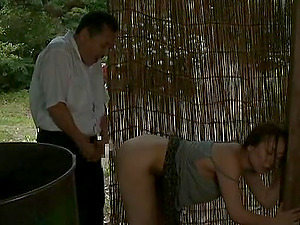 Japanese sweetheart gets her snatch fucked from behind in a shed
