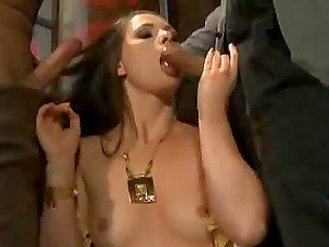 Horny black-haired Jessica Fiorentino fucks with two homeless guys