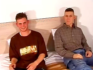 Two hot fag frat guys sit side by side and jack off