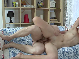 Fledgling blondie gets fucked from behind after sucking a wang