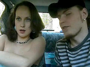 Vivacious Russian Teenage Sucking A Stranger's Big Penis In His Car