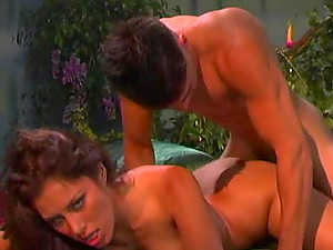 Hard-core rear end style scene with captivating black-haired Jennifer Love
