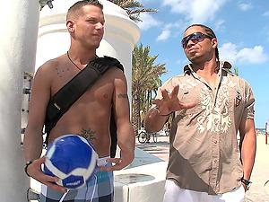 A Strung up Fag Black Man Plows a Milky Stud's Bootie