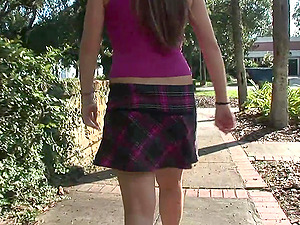 Point of view Shot of a Female Flashing Her Clean-shaven Cunt Outdoors