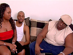 Sapphic strapon romp among two sexy black stunners