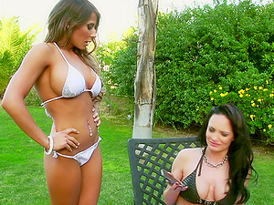 Sizzling Sapphic Playing With A Big Plastic Shaft In Her Garden