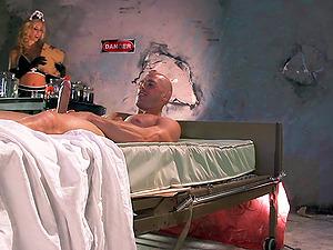 Lovely Nurse In Nylon Stocking Providing Massive Dick Bj