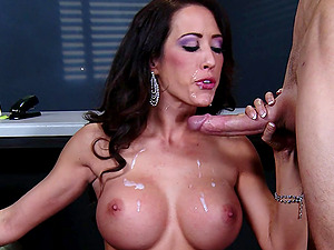 Curvy cowgirl with faux tits gets a jizz flow after getting fucked hard-core