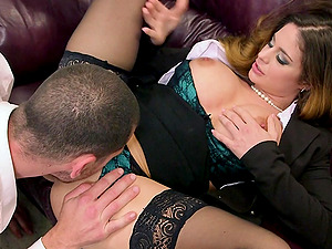 Horny black-haired Cathy Heaven blows and gets fucked hard in cowgirl pose