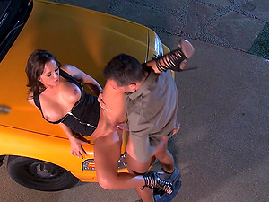Beautiful Dark haired With Big Faux Tits Loving A Hard-core Fuck In A Parking Lot