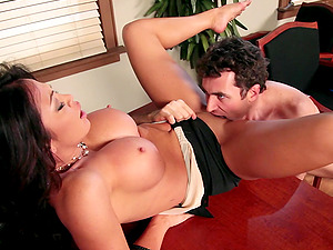 Mia Lelani gets her asshole tongued and fucked in an office