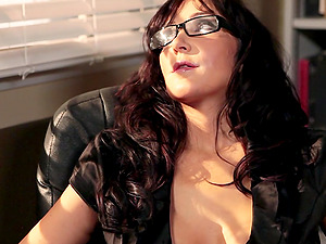 Huge-titted dark haired lecturer Diana Prince gets fucked in all poses at work
