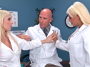 Sexy blonde doctors have a threesome with a lucky colleague