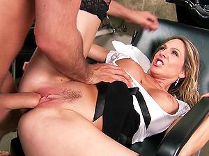Bubbly cougar with faux tits gives a wild blow-job after getting her culo slot drilled xxx
