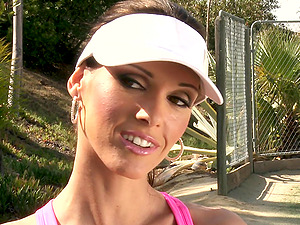 A sexy female gets fucked hard outdoors by her tennis coach