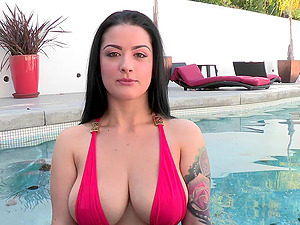 Tattooed Dark-haired With Natural Tits Gets Drilled Missionary