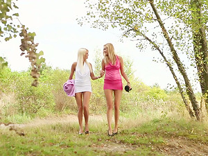 Sexy blonde have outdoors lovemaking in lezzie scene