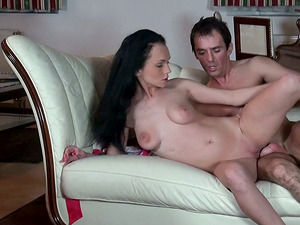 Brown-haired stunner Anabell blows and gets her asshole banged from behind