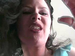 Inexperienced dark-haired Mummy in blue undies smoking a ciggie