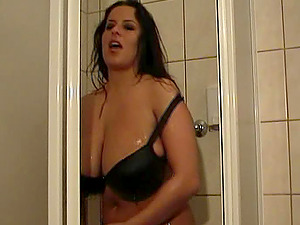 Sexy Brunettes In Brassiere Have Joy In Soapy Bathroom Session