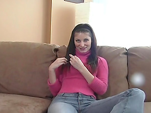 Pretty Cowgirl In Jeans Finger-tickling Her Snatch Immensely