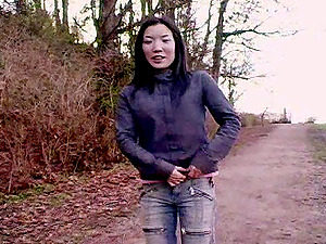 Horny Japanese Stunner Strips Outdoors And Shows Her Hot Vulva